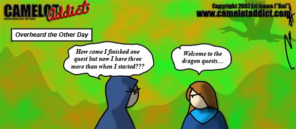 Dragon Questing: Always picking up more quests the further you go.